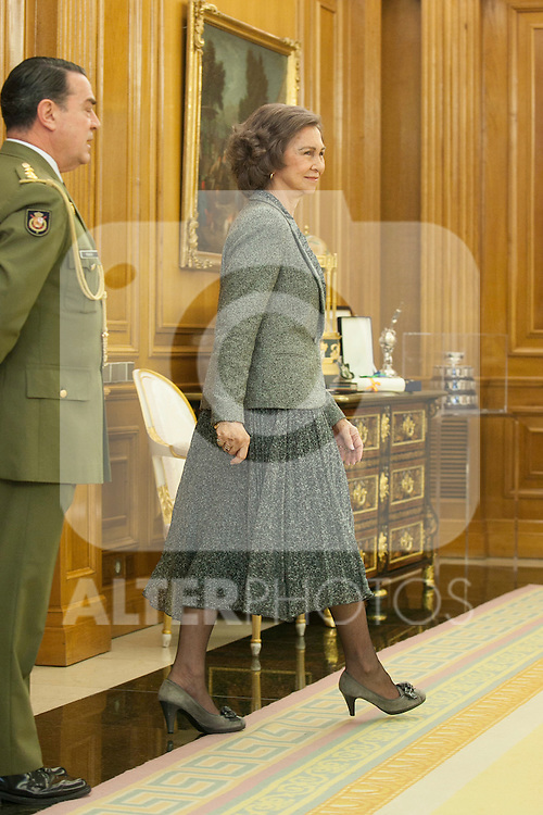 Spanish Royals Queen Sofia of Spain attends the Sports Merit Royal Order Great Cross award to paralympic swimmer Maria Teresa Perales at Zarzuela Palace in Madrid, Spain. April 01, 2014. (ALTERPHOTOS/Victor Blanco)