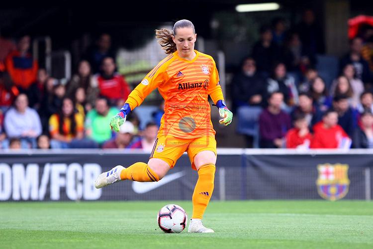 UEFA Women's Champions League 2018/2019.<br /> Semi Finals<br /> FC Barcelona vs FC Bayern Munchen: 1-0.<br /> Laura Benkarth.