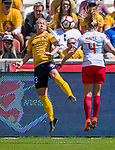 Utah Royals FC midfielder Gunnhildur Jonsdottir (23)  heads the ball over Chicago Red Stars midfielder Alyssa Mautz (4) in  the first half Saturday, April 14, 2018, during the National Woman Soccer League game at Rio Tiinto Stadium in Sandy, Utah. (© 2018 Douglas C. Pizac)
