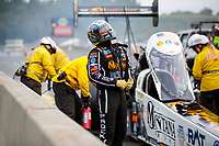 Sep 14, 2019; Mohnton, PA, USA; NHRA top fuel driver Austin Prock reacts after exploding an engine during qualifying for the Reading Nationals at Maple Grove Raceway. Mandatory Credit: Mark J. Rebilas-USA TODAY Sports