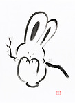 Cute happy bunny rabbit swining on a branch, artistic oriental style illustration, Japanese Zen Sumi-e ink painting on white rice paper background