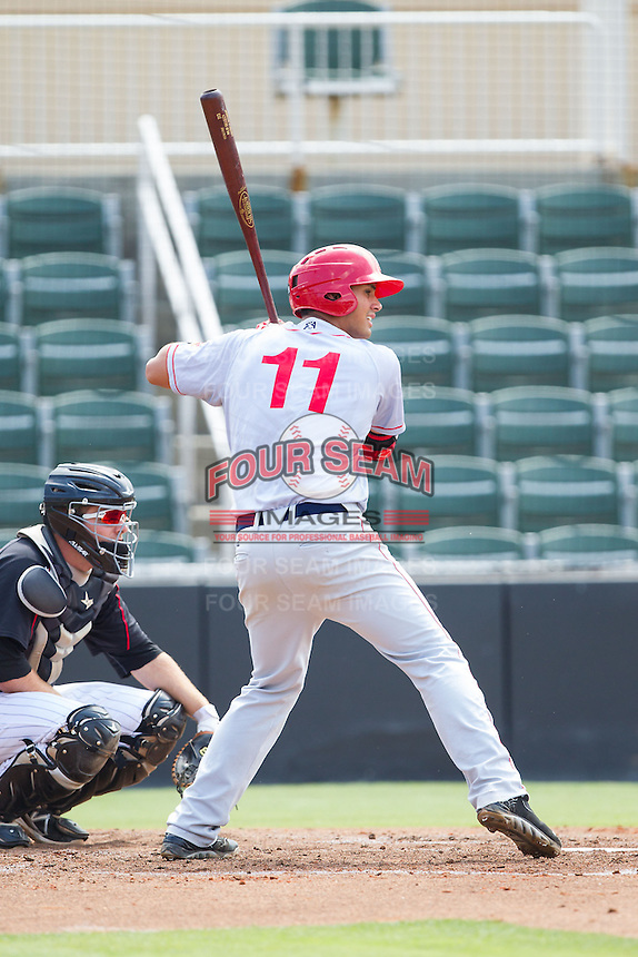 Drew Ward (11) of the Hagerstown Suns at bat against the Kannapolis Intimidators at CMC-Northeast Stadium on June 1, 2014 in Kannapolis, North Carolina.  The Intimidators defeated the Suns 5-1 in game one of a double-header.  (Brian Westerholt/Four Seam Images)