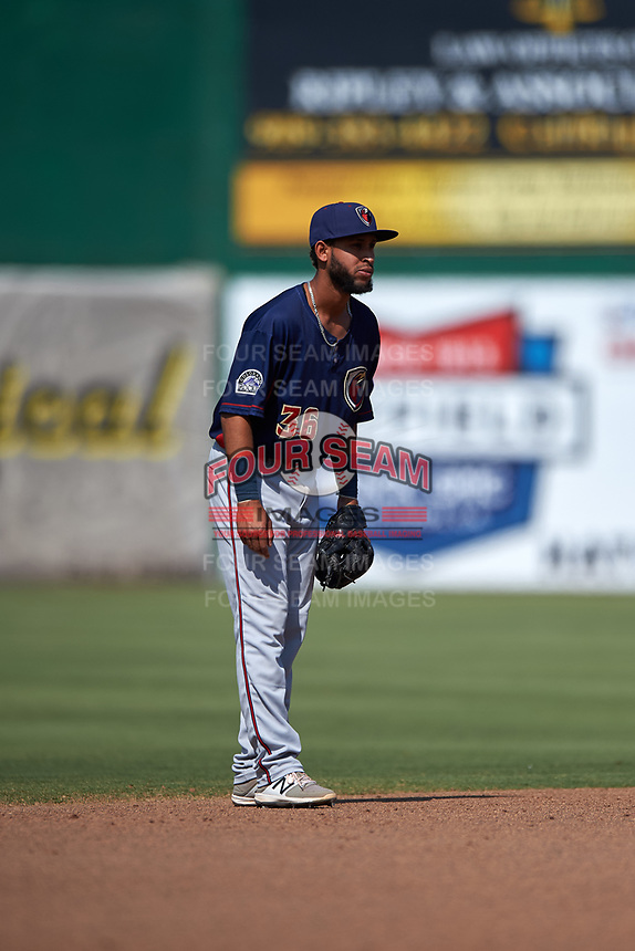 Lancaster JetHawks shortstop Carlos Herrera (36) during a California League game against the Inland Empire 66ers at San Manuel Stadium on May 20, 2018 in San Bernardino, California. Inland Empire defeated Lancaster 12-2. (Zachary Lucy/Four Seam Images)