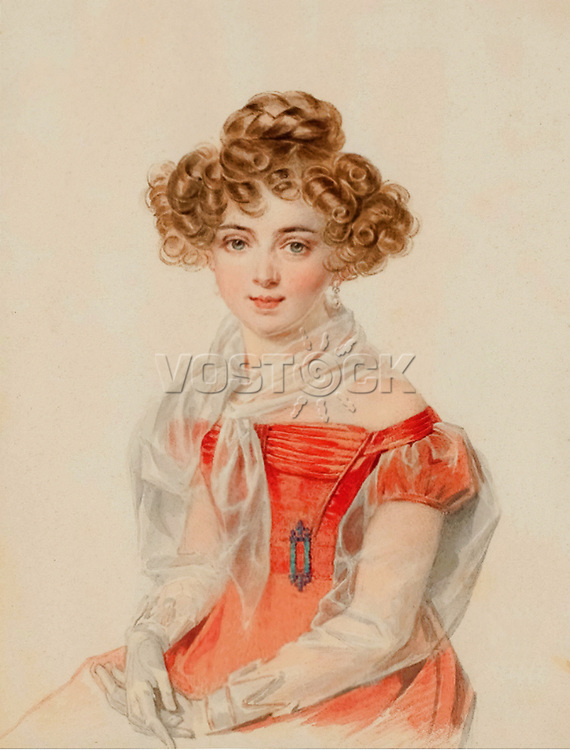 Countess Sophia Alexandrovna Bobrinskaya (1799-1866) by Sokolov, Pyotr Fyodorovich (1791-1848).<br /> 1827. Paper, watercolor. State Hermitage Museum.
