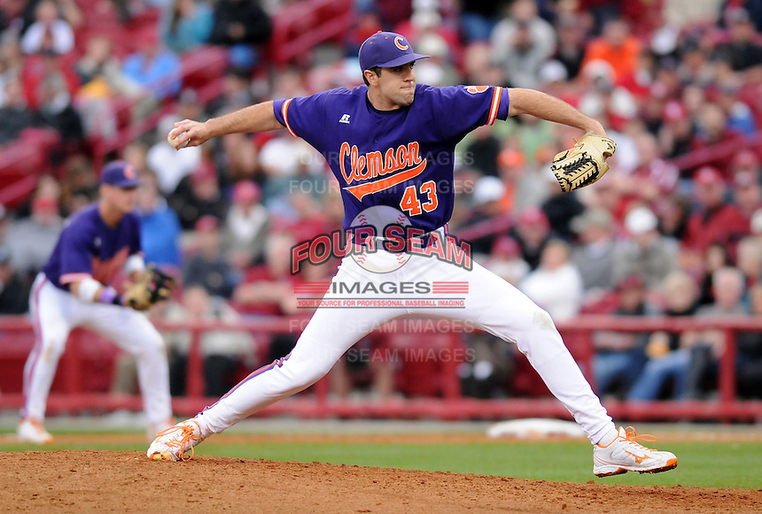Pitcher Patrick Andrews (43) of the Clemson Tigers in a game against the South Carolina Gamecocks on March 3, 2012, at Carolina Stadium in Columbia, South Carolina. Carolina won, 9-6. (Tom Priddy/Four Seam Images)