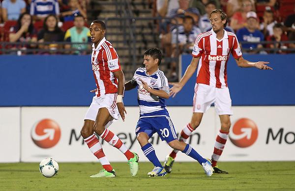 Mauro Diaz #20 of Fc Dallas / FC Dallas v Stoke City on July 27, 2013 at FC Dallas Stadium in Frisco, TX.