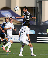 Rafael Baca of Earthquakes controls the ball in the air during the game against Whitecaps at Buck Shaw Stadium in Santa Clara, California on April 7th, 2012.  San Jose Earthquakes defeated Vancouver Whitecaps, 3-1.