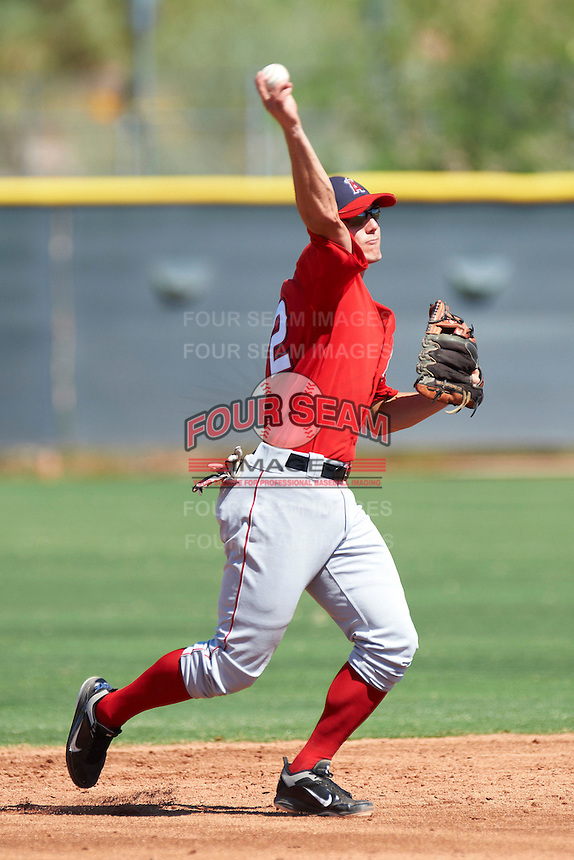 Los Angeles Angels minor league infielder Eric Stamets #32 during an instructional league game against the Arizona Diamondbacks at the Tempe Diablo Minor League Complex on October 1, 2012 in Tempe, Arizona.  (Mike Janes/Four Seam Images)