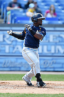 Myrtle Beach Pelicans outfielder Odubel Herrera (20) at bat during a game against the Wilmington Blue Rocks on April 27, 2014 at Frawley Stadium in Wilmington, Delaware.  Myrtle Beach defeated Wilmington 5-2.  (Mike Janes/Four Seam Images)