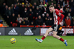 Oliver McBurnie of Sheffield United scores a goal during the Premier League match at Bramall Lane, Sheffield. Picture date: 10th January 2020. Picture credit should read: James Wilson/Sportimage