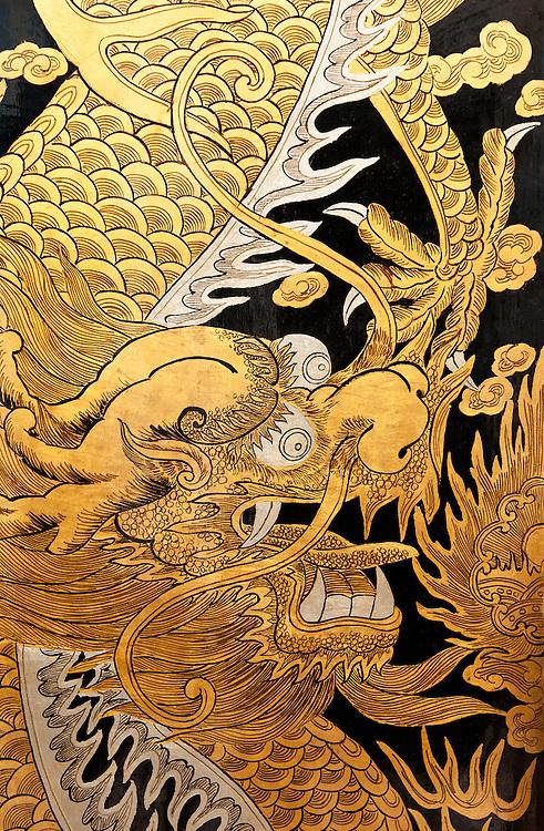 Door Dragon 01 - Gold painted dragon on a door at the Thian Hock Keng Temple, Telok Ayer St, Singapore
