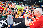 Spain's basketball player Jose Calderon with supporters during the  match of the preparation for the Rio Olympic Game at Madrid Arena. July 23, 2016. (ALTERPHOTOS/BorjaB.Hojas)