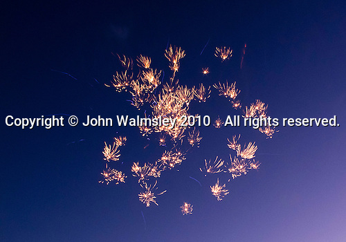 Fireworks display celebrating a major family re-union every 10 years, Pontesbury, Shropshire, UK.
