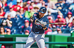 22 June 2014: Atlanta Braves infielder Ramiro Pena in action against the Washington Nationals at Nationals Park in Washington, DC. The Nationals defeated the Braves 4-1 to split their 4-game series and take sole possession of first place in the NL East. Mandatory Credit: Ed Wolfstein Photo *** RAW (NEF) Image File Available ***