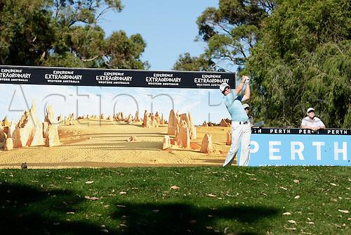 26.02.2016. Perth, Australia. ISPS HANDA Perth International Golf. Brad Kennedy (AUS) plays off the 12th par 3 tee during day 2.