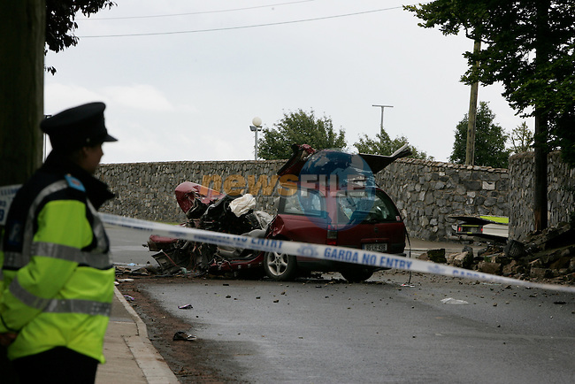 Drogheda Fire service were call to a single vehicle accident on the Rathmullen road outside St Olivers community college. It took them over an hour using cutting and spreading equipment to remove the dead man from his vehicle..Photo: Newsfile/Fran Caffrey....