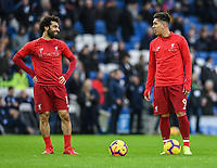 Liverpool's Mohamed Salah (left) & Liverpool's Roberto Firmino (right) during the prematch warmup<br /> <br /> Photographer David Horton/CameraSport<br /> <br /> The Premier League - Brighton and Hove Albion v Liverpool - Saturday 12th January 2019 - The Amex Stadium - Brighton<br /> <br /> World Copyright © 2018 CameraSport. All rights reserved. 43 Linden Ave. Countesthorpe. Leicester. England. LE8 5PG - Tel: +44 (0) 116 277 4147 - admin@camerasport.com - www.camerasport.com