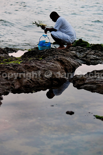 A Candomblé worshipper throws flowers in the sea during the celebration of Yemanjá, the goddess of the sea, in Salvador, Bahia, Brazil, 2 February 2012. Yemanjá, originally from the ancient Yoruba mythology, is one of the most popular ?orixás?, the deities from the Afro-Brazilian religion of Candomblé. Every year on February 2nd, thousands of Yemanjá devotees participate in a colorful celebration in her honor. Faithful, usually dressed in the traditional white, gather on the beach at dawn to leave offerings for their goddess. Gifts for Yemanjá include flowers, perfumes or jewelry. Dancing in the circle and singing ancestral Yoruba prayers, sometimes the followers enter into a trance and become possessed by the spirits. Although Yemanjá is widely worshipped throughout Latin America, including south of Brazil, Uruguay, Cuba or Haiti, the most popular cult is maintained in Bahia, Brazil.