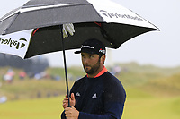 Jon Rahm (ESP) sinks his putt on the 8th green during Sunday's Final Round of the 148th Open Championship, Royal Portrush Golf Club, Portrush, County Antrim, Northern Ireland. 21/07/2019.<br /> Picture Eoin Clarke / Golffile.ie<br /> <br /> All photo usage must carry mandatory copyright credit (© Golffile | Eoin Clarke)