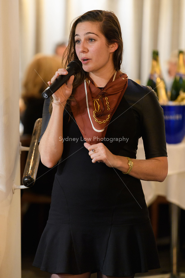 Melbourne, July 13, 2018 - Lucy Edwards speaks to the diners at the Pommery Champagne Dinner at Philippe Restaurant in Melbourne, Australia. Photo Sydney Low