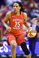 Washington, DC - August 17, 2018: Washington Mystics forward Monique Currie (25) handles the ball during game between the Washington Mystics and Los Angeles Sparks at the Capital One Arena in Washington, DC. (Photo by Phil Peters/Media Images International)