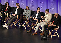 "HOLLYWOOD, CA - MARCH 17:  Jennifer Love Hewitt, Oliver Stack, Aisha Hinds, Kenneth Choi, Ryan Guzman and Rockmond Dunbar at PaleyFest 2019 - Fox's ""9-1-1"" panel at the Dolby Theatre on March 17, 2019 in Hollywood, California. (Photo by Scott Kirkland/Fox/PictureGroup)"