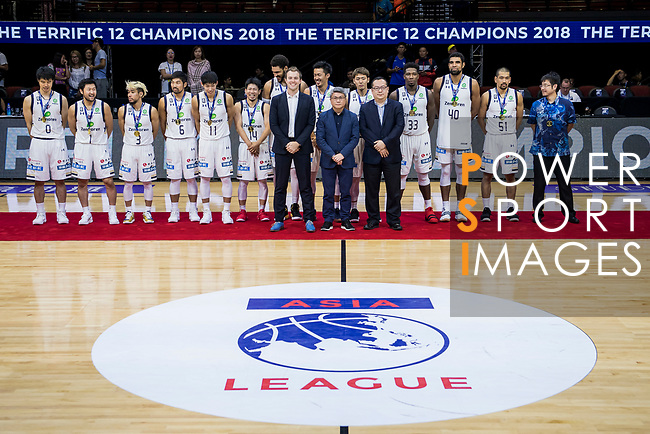 Ryukyu Golden Kings celebrates winning The Asia League's The Terrific 12 tournament at the Award Presentation ceremony at Studio City Event Center on 23 September 2018, in Macau, Macau. Photo by Marcio Rodrigo Machado / Power Sport Images for Asia League