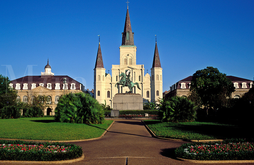 USA, Louisiana, New Orleans. St. Louis Cathedral, Jackson Square and Cabild