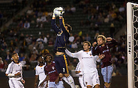 LA Galaxy goalkeeper Steve Cronin (1) leaps high to save a crossball late in the second half.  The Colorado Rapids defeated the LA Galaxy 1-0 during the preliminary rounds of the 2008 US Open Cup at Home Depot Center stadium in Carson, Calif., on Tuesday, May 27, 2008.