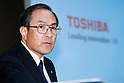Masashi Muromachi, President and Chief Executive Officer of Toshiba Corp., attends a news conference on September 7, 2015, Tokyo, Japan. Toshiba fell into the red for the first time in five years after announcing corrections to its net balance of more than 155 billion yen ($1.3 billion) in its delayed earnings report. The corrections are a result of padding earnings over a seven year period of accounting irregularities. (Photo by Rodrigo Reyes Marin/AFLO)