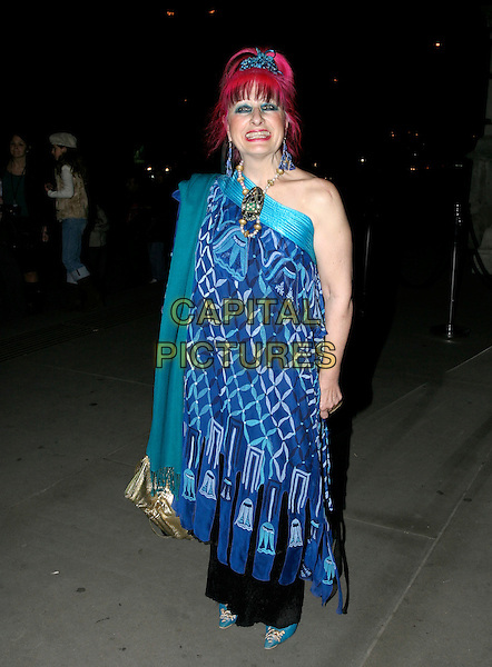 ZANDRA RHODES.British Fashion Awards, Raphael Gallery, Victoria & Albert Museum, London, SW7, UK,.November 10th, 2005.Ref: AH.full length blue off the shoulder dress fashion disaster pashmina.www.capitalpictures.com.sales@capitalpictures.com.© Capital Pictures.