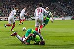 10.02.2019, Weserstadion, Bremen, GER, 1.FBL, Werder Bremen vs FC Augsburg<br /> <br /> DFL REGULATIONS PROHIBIT ANY USE OF PHOTOGRAPHS AS IMAGE SEQUENCES AND/OR QUASI-VIDEO.<br /> <br /> im Bild / picture shows<br /> Jan Moravek (FC Augsburg #14) im Duell / im Zweikampf / legt Max Kruse (Werder Bremen #10), <br /> <br /> Foto © nordphoto / Ewert