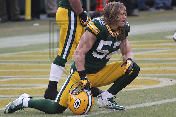 GREEN BAY - January 2012: Clay Matthews (52) of the Green Bay Packers during an NFL Playoff game on January 15, 2012 at Lambeau Field in Green Bay, Wisconsin. (Photo by Brad Krause).