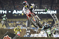 01/22/11 Los Angeles, CA:  Cole Seely during the 1st ever AMA Supercross held at Dodger Stadium.