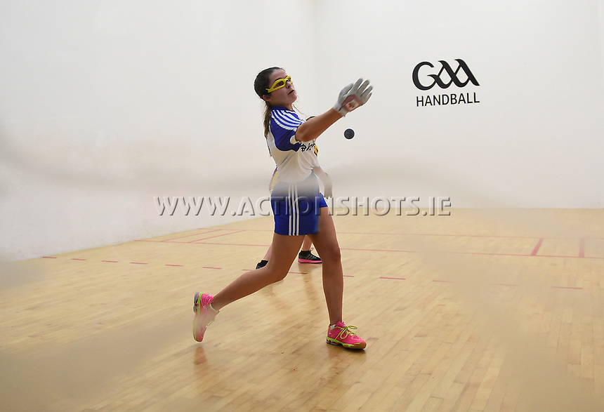 19/03/2018; 40x20 All Ireland Juvenile Championships Finals 2018; Kingscourt, Co Cavan;<br /> Girls Under-15 Singles; Wexford (April Moran) v Monaghan (Louise McGinnity)<br /> Louise McGinnity<br /> Photo Credit: actionshots.ie/Tommy Grealy