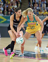 04.09.2016 Silver Ferns Kayla Cullen and Australia's April Brandley in action during the Netball Quad Series match between the Silver Ferns and Australia played at Margaret Court Arena in Melbourne. Mandatory Photo Credit ©Michael Bradley.