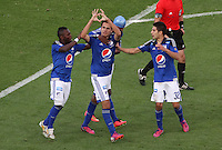 BOGOTA -COLOMBIA, 7-MARZO-2015. Gabriel Diaz de Millonarios celebra su  contra  La Equidad  durante la octava fecha de La Liga Aguila jugado en el estadio Nemesio Camacho El Campin . / Gabriel Diaz  of  Millonarios  celebrates his goal  l against of La Equidad  during the eight round of La Liga Aguila played at the Nemesio Camacho El Campin  stadium in Bogota. Photo / VizzorImage / Felipe Caicedo  / Staff