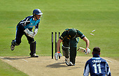 CB40 Cricket - Notts Outlaws V Scottish Saltires - Trent Bridge Nottingham - a smart bit of keeper-work from Saltires' Craig Wallace removes the bails to remove Notts' Alex Hales off Symes for 37 - 21.7.12 - 07702 319 738 - clanmacleod@btinternet.com - www.donald-macleod.com