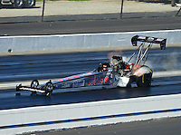 Nov. 10, 2012; Pomona, CA, USA: NHRA top fuel dragster driver Chris Karamesines during qualifying for the Auto Club Finals at at Auto Club Raceway at Pomona. Mandatory Credit: Mark J. Rebilas-