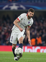 Thiago Motta of Paris Saint-Germain plays a pass during the UEFA Champions League Round of 16 2nd leg match between Chelsea and PSG at Stamford Bridge, London, England on 9 March 2016. Photo by Andy Rowland.