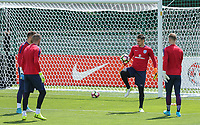 Goalkeeper Tom Heaton (2nd right) (Burnley) of England and goalkeeper teammates during an open England football team training session at Stade Omnisport, Croissy sur Seine, France  on 12 June 2017 ahead of England's friendly International game against France on 13 June 2017. Photo by David Horn/PRiME Media Images.