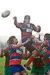 Gary Saifoloi taps back lineout ball. Counties Manukau Premier rugby game between Waiuku & Ardmore Marist played at Waiuku on Saturday May 10th 2008..Ardmore Marist won 27 - 6 after leading 10 - 6 at halftime.