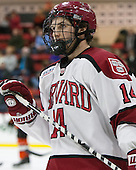 Alexander Kerfoot (Harvard - 14) - The Harvard University Crimson defeated the visiting Princeton University Tigers 5-0 on Harvard's senior night on Saturday, February 28, 2015, at Bright-Landry Hockey Center in Boston, Massachusetts.