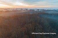 63895-16909 Sunrise and fog Stephen A. Forbes State Park-aerial-Marion Co. IL