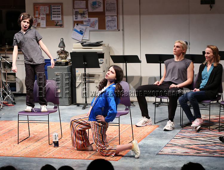 "Cast of ""XY"" during the 2018 Presentation of New Works by the DGF Fellows on October 15, 2018 at the Playwrights Horizons Theatre in New York City."