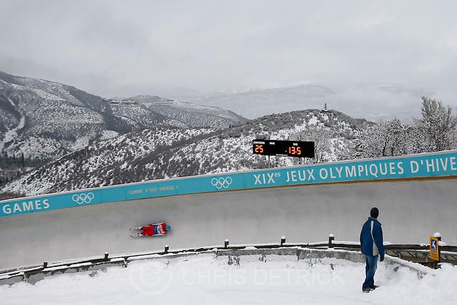 Chris Detrick  |  The Salt Lake Tribune .Daniel Pfister, of Austria, competes during the Viessmann Luge World Cup at the Utah Olympic Park Saturday December 18, 2010.