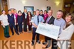 At the Presentation of a  cheque for €7,930 to Kerry Hospice from Chief Superintendent Pat Sullivan's retirement coffee morning held in Ballygary House Hotel on Friday 22nd January  were, front l-r  Sergeant Michael Fleming, Pat Sullivan, Dan Galvin and Maura Sullivan Back l-r Brid O'Driscoll, John Sheehy, Mary Nolan, Mary Shannahan, Garda Fiona O'Dowd, Farah Siddiqi, Aine Moriarty, Marie O'Connell and Linda O'Connor,
