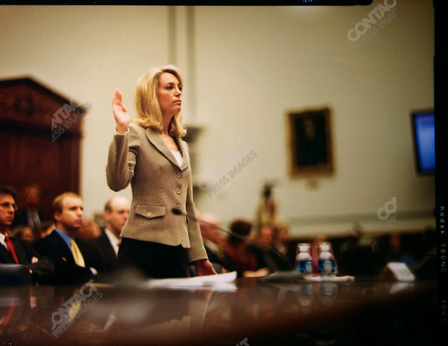 "Valerie Plame, former covert CIA operative and wife of former ambassador Joe Wilson, testifies before the House Committee on Oversight and Government Reform during a hearing concerning the leak of her identity to the media. Her exposure as a CIA agent figured in the trial and conviction of I. Lewis ""Scooter"" Libby, U.S. Vice President Dick Cheney's former chief of staff, on charges of obstruction of justice. Washington, D.C., March 16, 2007."