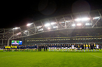 The Leinster and Bath Rugby teams line-up prior to kick off. Heineken Champions Cup match, between Leinster Rugby and Bath Rugby on December 15, 2018 at the Aviva Stadium in Dublin, Republic of Ireland. Photo by: Patrick Khachfe / Onside Images