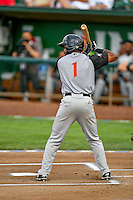 Northwest League All-Star Ashford Fulmer (1) of the Salem-Keizer Volcanoes at bat against the Pioneer League All-Stars at the 2nd Annual Northwest League-Pioneer League All-Star Game at Lindquist Field on August 2, 2016 in Ogden, Utah. (Stephen Smith/Four Seam Images)